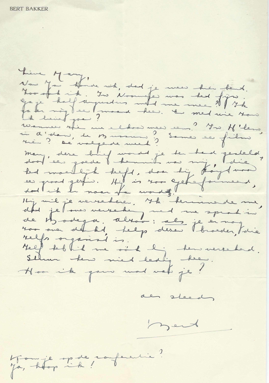 Brief van schrijfster A.van Hoogstraten-Schoch aan Mary Pos, gedateerd 12 november 1939.