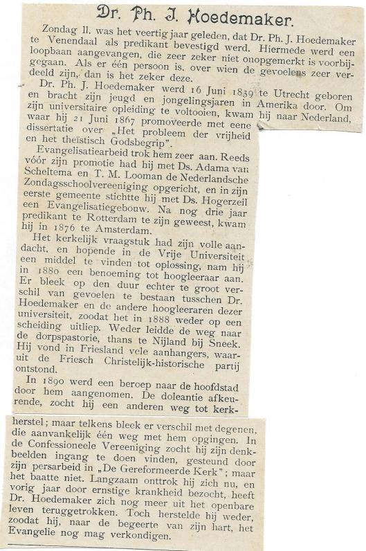 Beknopte levensbeschrijving van dr.Ph.J.Hoedemaker. Uit: De Spiegel, 22-2-1908.