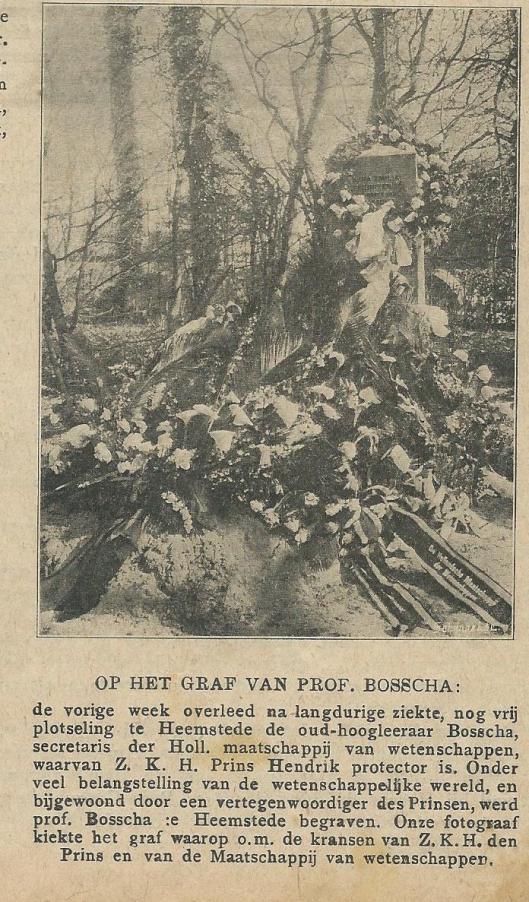 Bloemenzee op het graf van prof. J.Bosscha (Zondagsblad Opt.Haarl. Courant, 29 april 1911).