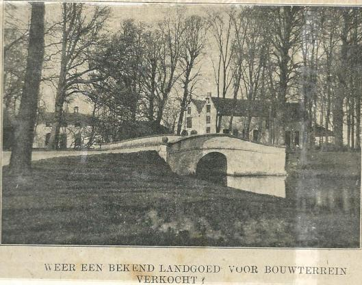 Bericht over toekomstige verkoop van landgoed 't Clooster, uit: Zondagsblad Nieuwe Haarlemsche Courant van 20 mei 1911.