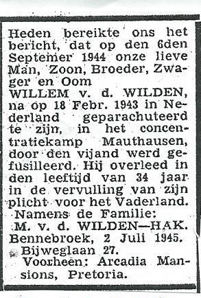 Overlijdensbericht Willem van der Wilden 6 september 1944 in Mauthausen (Trouw, 6-7-1945)