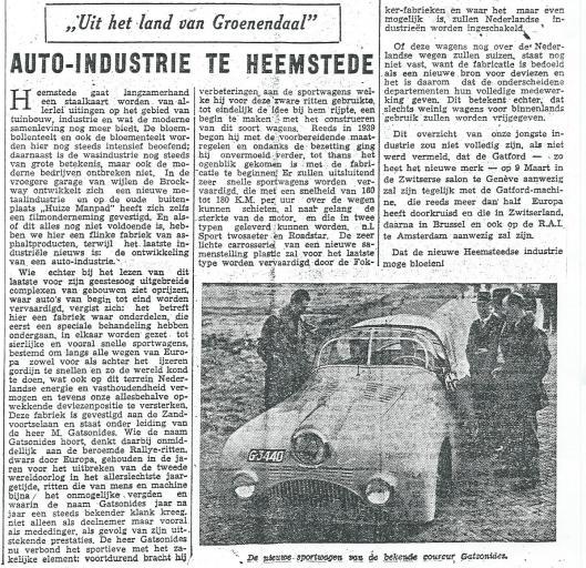 NIeuwe sportwagen van Maus Gatsonides (H.D, 9 mei 1948)