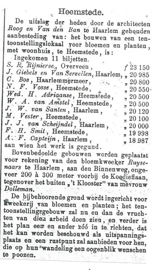 Aanbesteding van 'Bloemoord' voor rekening van bollenkweker Ruysenaars in Haarlem (1895)