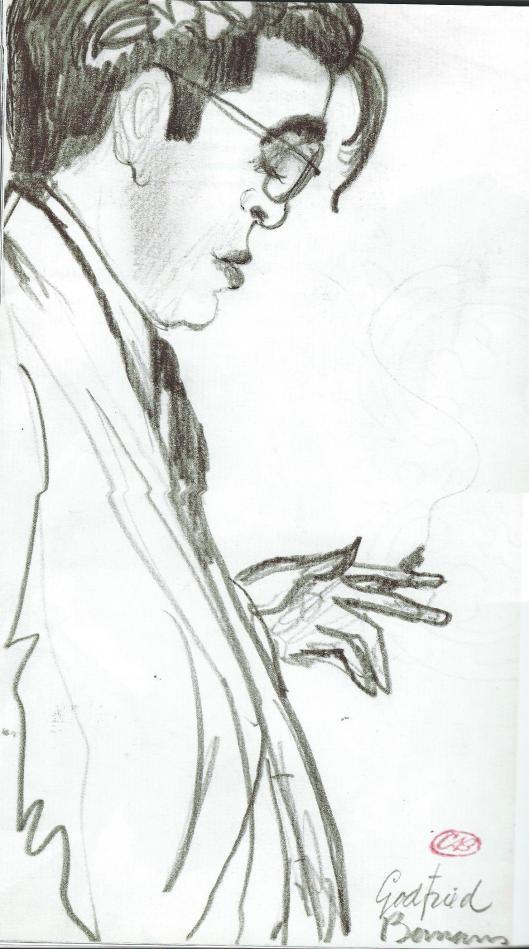 Cees Bantzinger schetste dit portret van Bomans tijdens een diner op de menukaart (Elsevier; ter herinnering 1913-1971. 2013.