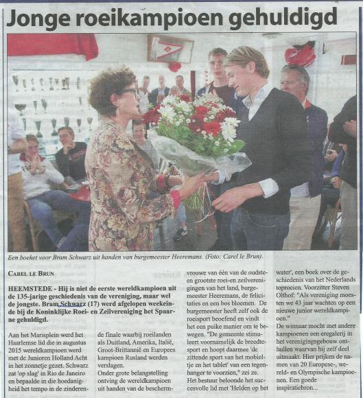 Een nieuwe generatie Schwarz dient zich aan in de roeierswereld. Bericht over Bram Schwarz uit de Heemsteedse Courant van 7 oktober 2015.