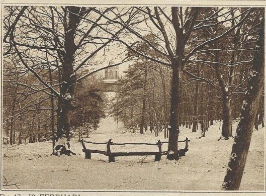 Winters tafereel in Groenendaal met de Belvedere op de achtergrond. Uit de Katholieke Illustratie, 1923