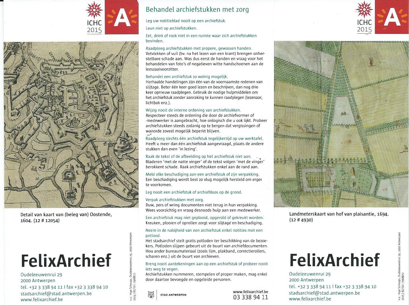Bladwijzers van Felix Archief stad Antwerpen