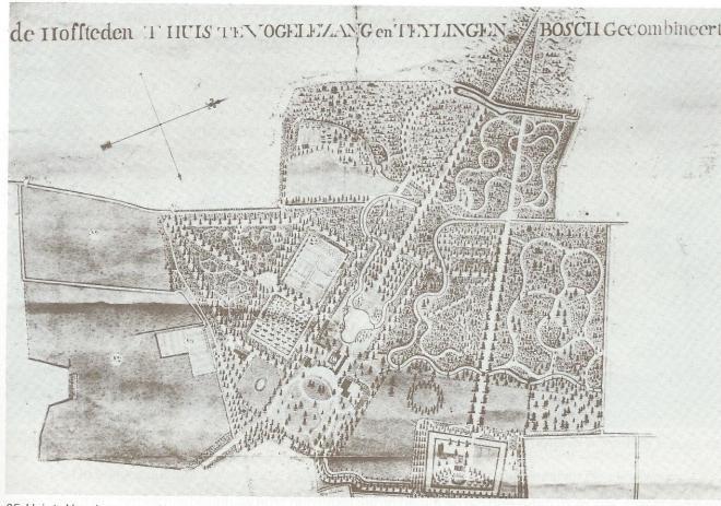 Huys te Vogelenzang en Teylingenbosch. Detail uit een kaart van landmeter Daniël Engelman, 1794 (coll. Huize Vogelenzamg)