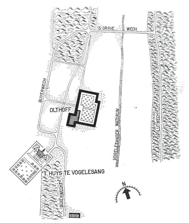 Situatietekening van 't Huys te Vogelesang, o.a. naar Floris Balthasar van Berckenrode en het Caertboeck (vervaardigd door Publieke Werken Bloemendaal).