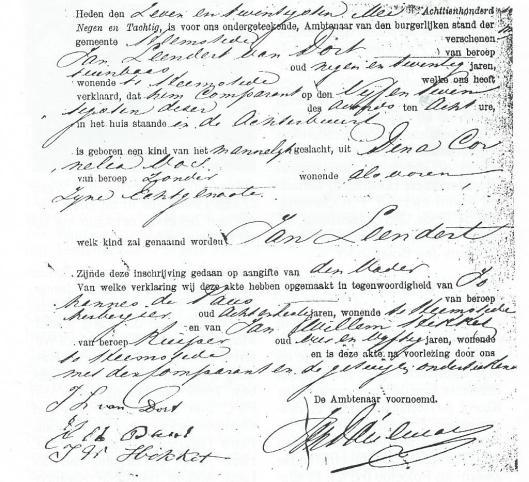 Geboortebewijs van voetballer en hovenier J.L.van Dort