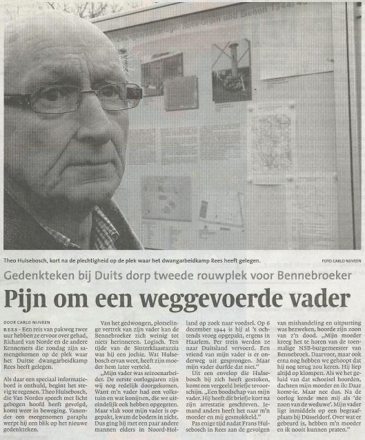 Herinnering van Theo Hulsebosch aan zijn vader, omgekomen in kamp Rees. (Uit: Haarlems Dagblad, maart 2010).