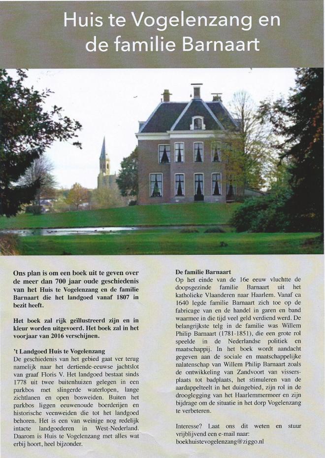 Aankondiging van in 2016 te verschijnen boek over Huis te Vogelenzang en de familie Barnaart door Martin Bunnik