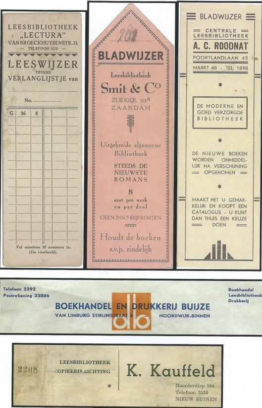 Boekenleggers van leesbibliotheken (Hillebrand Komrij)