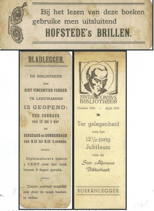 Diverse bladwijzers o.a. van St. Vincentiusbibliotheek Leeuwarden (Hillebrand Komrij)