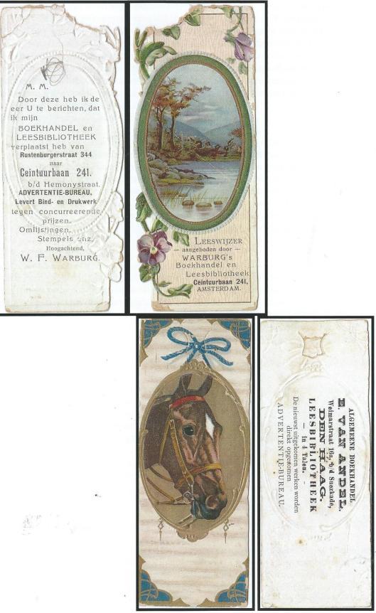 Boekenlegger Leesbibliotheek W.F.Warburg (Amsterdam) en E.van Andel (Den Haag)