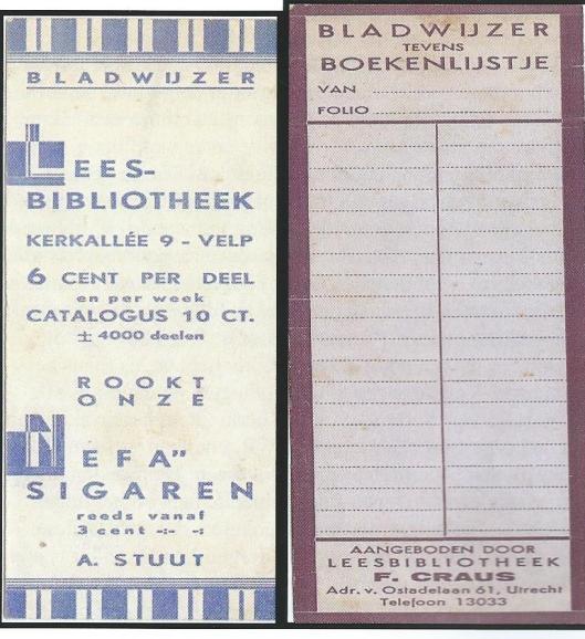 Bladwijzers van leesbibliotheken in Velp en Utrecht (Hillebrand Komrij)