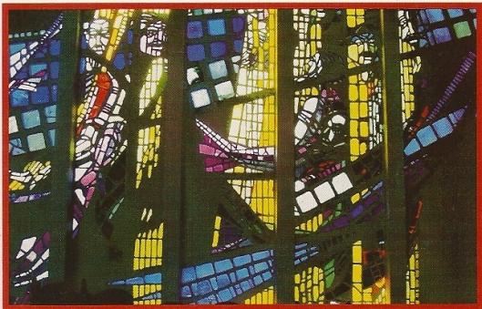 Ander fragment van glas-in-beton ramen Pinksterkerk Heemstede