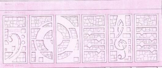 Tekening ontwerp voorgevel, glas-in-beton in opdracht van Bovema. Gedateerd 11 mei 1959 en getekend door Dick Plat (overleden 31-1-2009 in Aerdenhout). (bouwkundearchief gemeente Heemstede, zie: OVerboslaan, 1959)