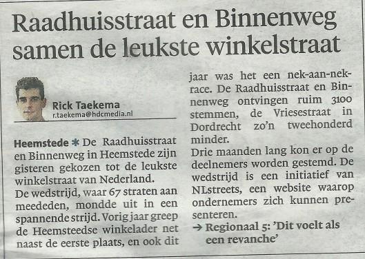 Raadhuisstraat/Binnenweg door publiek gekozen als leukste winkelstraat in Heemstede. Bericht uit Haarlems Dagblad van 1 februari 2014
