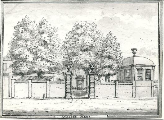 Toegang naar de hofstede Westermeer met rechts de theekoepel Tekening van Hendrik de Leth. (N.H.Archief)