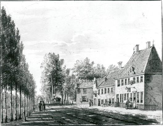 De herbergen Het Wapen van Amsterdam en Rustenburg. Tekening van P.van Loo, 1768 (N.H.A.)