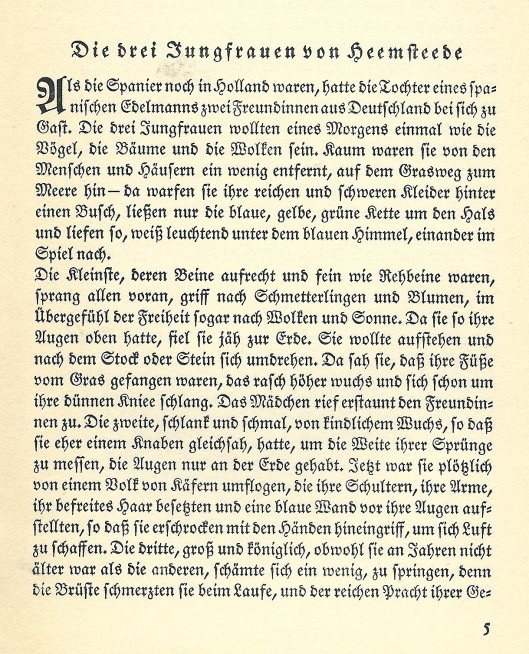 Begin van legende 'Die drei Jungfrauen von Heemstede''  door Wilhelm Schmidbonn