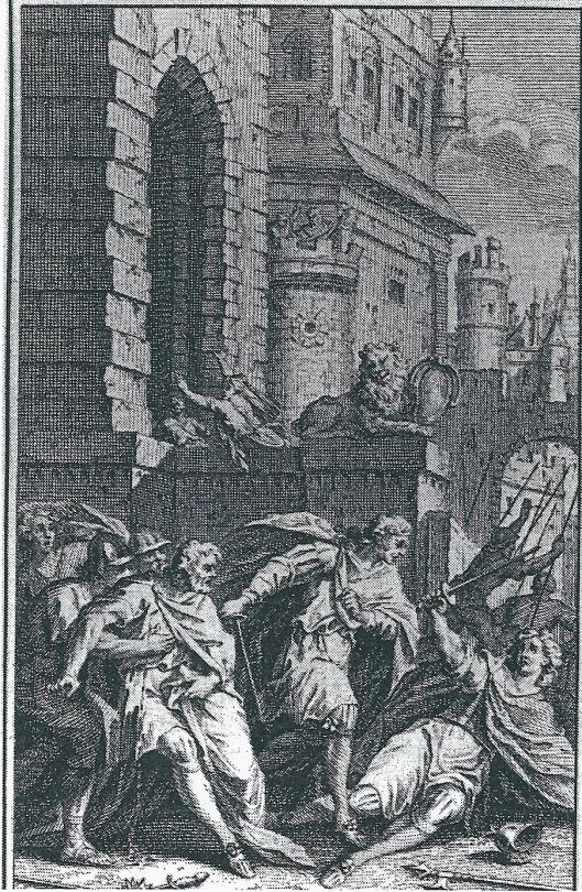 Gravure van J.Punt uit Childerik (1738), een vertaling van Christina Leonora de Neufville van de Franse tragedie van P.de Morand. Het stuk werd meerdere malen in de stadsschouwburg van Amsterdam opgevoerd en was opgedragen aan Mattheus en Petronella de Neufville