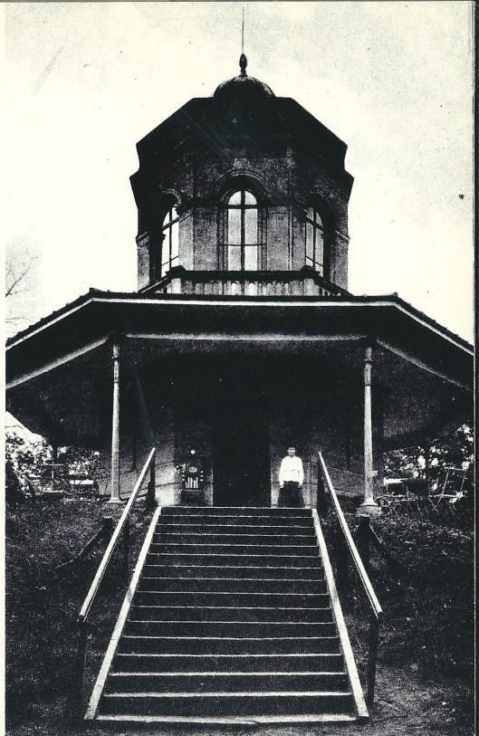 Nadat in 1913 Groenendaal als wandelbos voor het publiek werd opengesteld bleek de Belvedère met een entrée van een dubbeltje een veelgebruikte attractie met het eerste jaar bijna 20.000 bezoekers. Boven op de trap zien we Mien Verdonschot, dochter van Arie Verdonschot die de uitzichttoren exploiteerde.