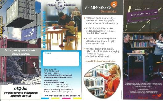 V.l.n.r.: vraagbaak Al@din; bibliotheek Enschede, bibliotheek Dommeldal; bibliotheek Den Haag