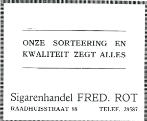 Adv. Sigarenhandel Fred. Rot uit 1931