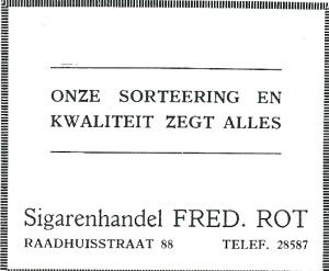 Adv. Sigarenhandel Fred. Rot uit 1931