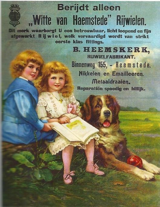 Reclameplaat van rijwielfabrikant 'Witte van Haemstede', B.Heemskerk, begonnen op de Binnenweg 155 voor de verhuizing naar Koediefslaan 22