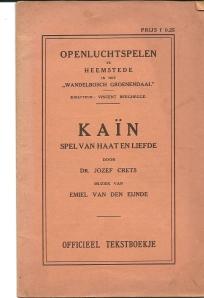 Vooromslag van teksboekje (36blz.) 'Kaïn, spel van haat en liefde'door dr.Jozef Crets. 1917