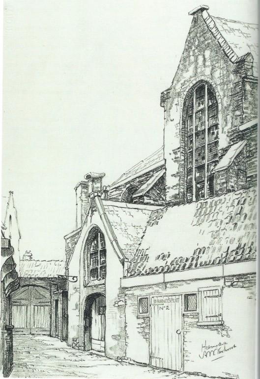 Tekening van A.W.Verhorst uit 1940 met vooraan rechts het brandspuithuisje en vervolgens de toegang naar de (middeleeuwse) Heemsteedse kapel in de Janskerk te Haarlem