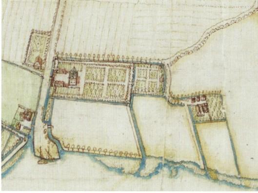 Uitsnede uit kaart van de heerlijkheid Heemstede door Balthasar Floriszoon van Berkenrode. Links aan de Molenwerf de hofstede Meermond en rechts daarvan de hofstede Sparenburg.
