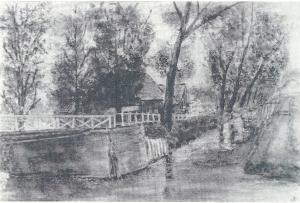 De brug over de Leidsevaart rond 1900. Links het café Jansen, waar thans het flatgebouw Rozenburgh staat aan de Zandvoortselaan hoek Asterkade. De sloot rechts van de Zandvoortselaan werd lang geleden gedempt.
