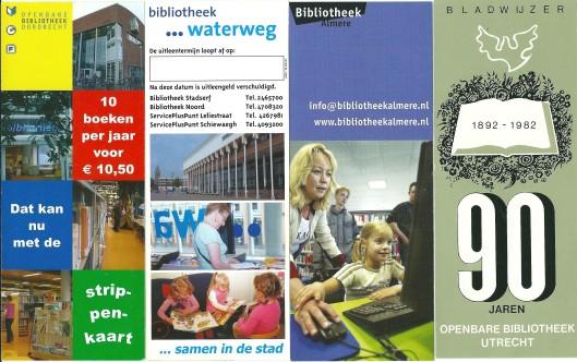 V.l.n.r.: bibliotheek Dordrecht; bibliotheek Waterweg (Schiedam); bibliotheek Almere; bladwijzer 90 jaar openbare bibliotheek Utrecht 1892-1982