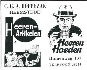 Advertentie Hoedenzaak Hoppezak uit 1931