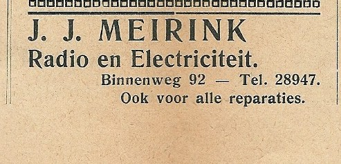 Radio en electriciteit J.J.Meirink (1934)