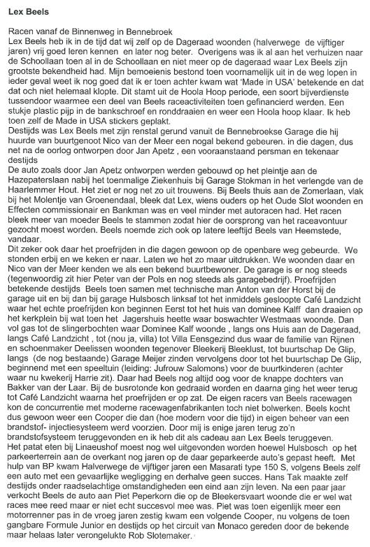 Herinneringen van Jan Lammerse (1946-2013) aan Lex Beels