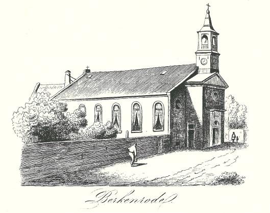 De Bavo-kerk van Berkenrode Heemstede, circa 1854 gegraveerd door Willem Vester en uitgevoerd door J.A.van Belle