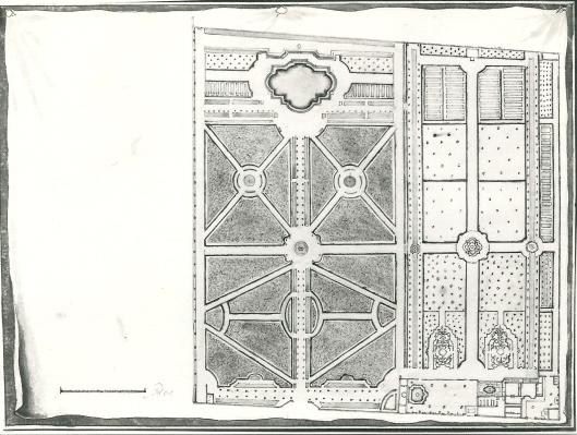 Formele ofwel geometrische tuinaanleg van Westermeer [gelegen op de plaats van de Algemene Begraafplaats Heemstede] (N.H.Archief)