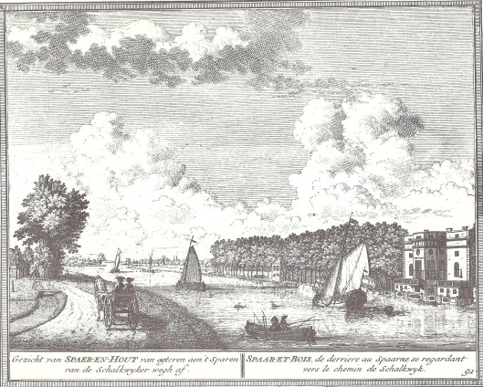 Gezicht op de achterzijde van Sparenhout aan het Spaarne met links de weg naar Schalkwijk. Gravure door Hendrik de Leth, circa 1730.