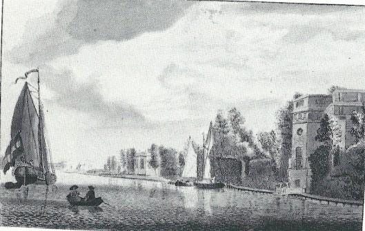 'Gezigt aan het zuyder buyte Spaaren na de Hofsteede Spaarenhout' tekening van Cornelis van Noorde, circa 1824 (NHA)