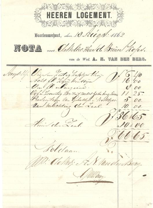 Nota van Heeren Logement, van 18 augustus 1862 voor de heer De Bruin Kops
