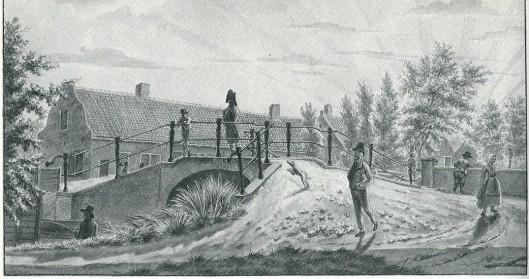 De IJzeren brug omstreeks 1800. tekening van Haarlemmer Wijbrand Hendriks (1744-1831) (Noord-Hollands Archief)
