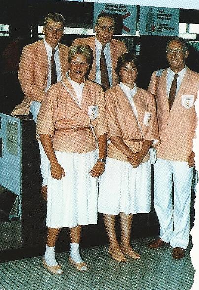 De Olympische ploeg vertrekt naar Los Angeles in 1984: Van links naar rechts: Gerard de Kort, Hans Kroes, Brigitte v.d.Lans, Petra Hillenius + trainer Wim Geurtsen