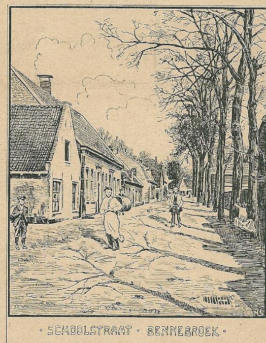Schoolstraat Bennebroek. Houtgravure firma Enschede uit Zondagsblad Oprechte Haarlemsche Courant, 2 november 1903