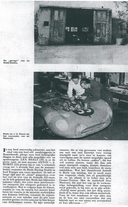 Artikel van Jan Lammerse uit Bennebroek over autoracers Lex Beels en Anton v.d. Horst