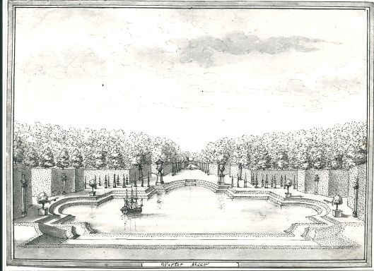 Park met vijver, borstbeelden en vazen van Westermeer, getekend door Hendrik de Leth (1703-1786)